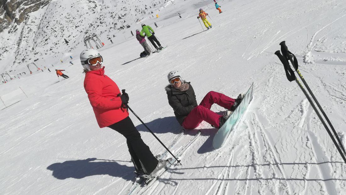 Sabine Schwarze Skifahren in Corvara, Alta Badia, Südtirol